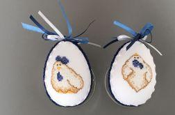 Haftowane pisanki kurczaki niebieski
