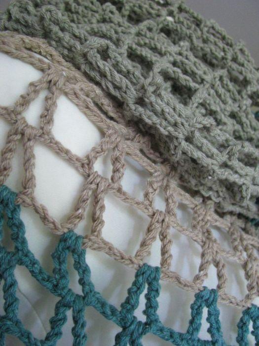 szydełkowy szal ażur bawełna -morze i piasek -