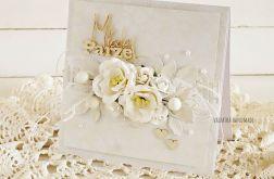 Kartka ślubna w bieli, w pudełku, 587