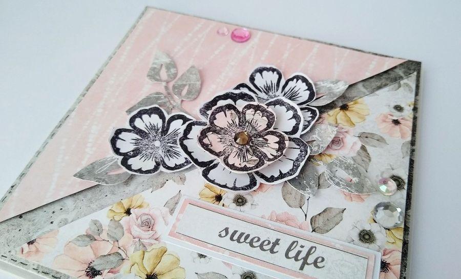 Kartka romantyczna z kwiatami Sweet Life