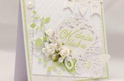 Perłowo biała kartka ślubna - KS18004