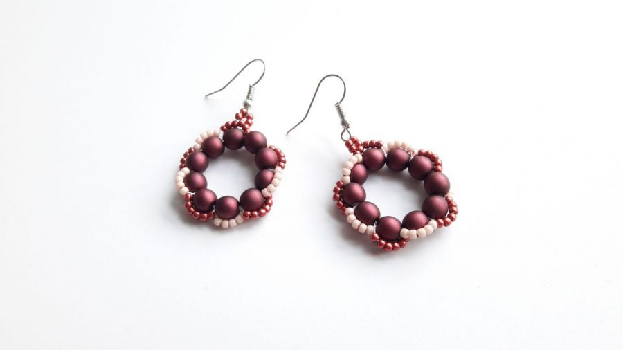Kolczyki perłowe - wino -
