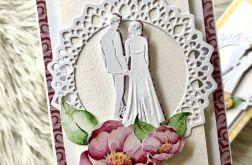Kartka ślubna DL Piwonie