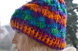 Ciepła czapka kolorowa szydełkowa