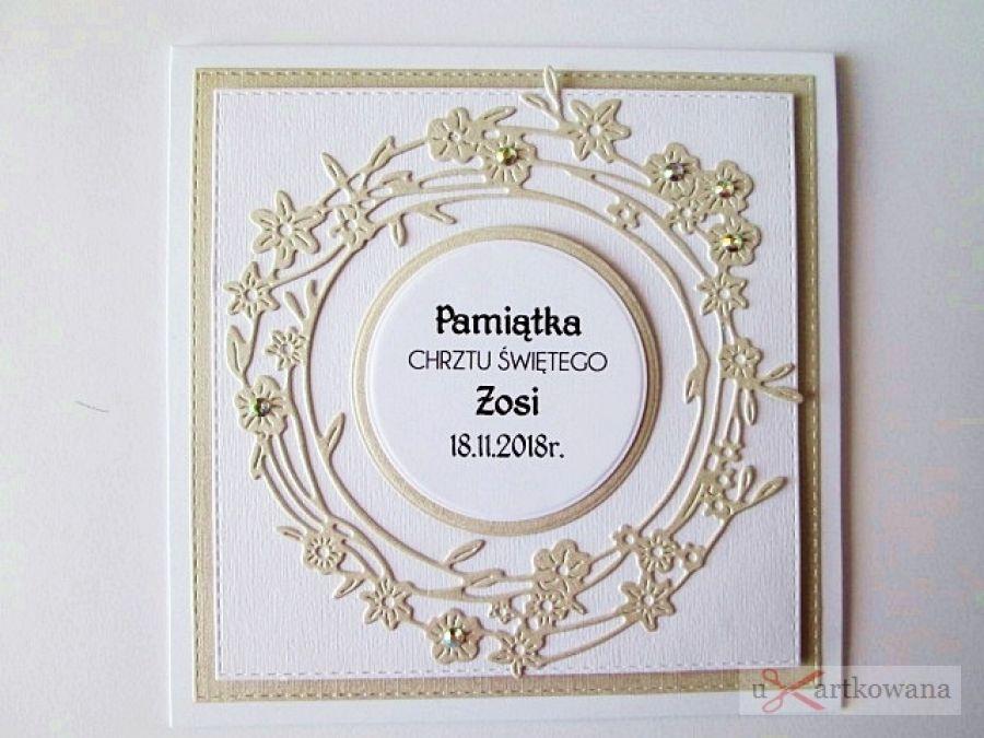 Kartka PAMIĄTKA CHRZTU biało-beżowa - Biało-beżowa kartka na Chrzest Święty