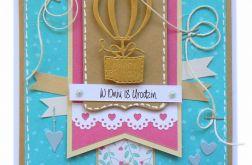Turkusowo-różowa z balonem kartka 18 urodziny