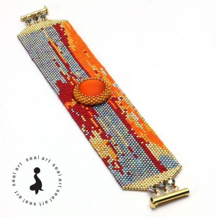 """BRANSOLETKA """"ZACHÓD SŁOŃCA"""" - malowany koralikami"""
