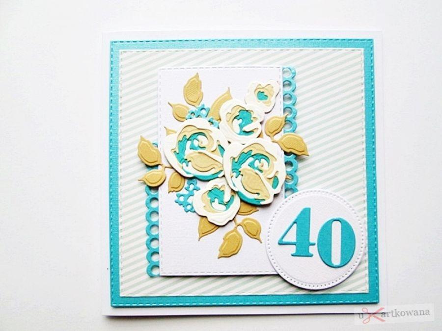 Kartka NA URODZINY beżowo-turkusowe róże - Kartka na urodziny beżowo-turkusowe róże