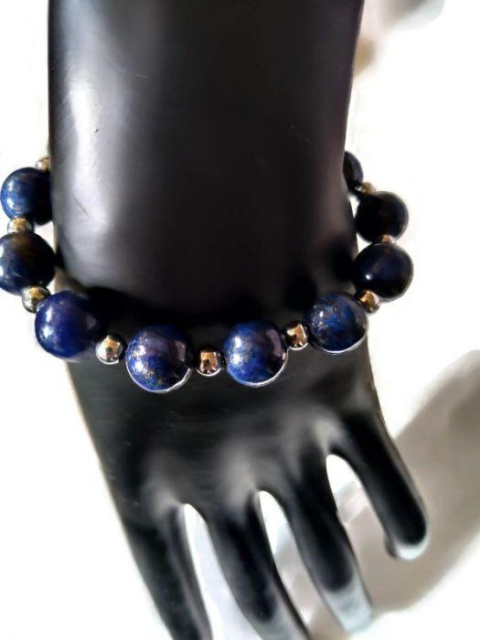 Bransoletka z lapis lazuli i hematytu - Bransoletka z wysokiej jakości kamieni