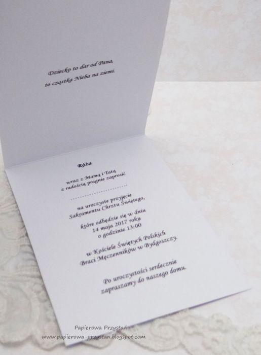 Białe Zaproszenia Na Chrzest Z Gołębicą Papierowa Przystań