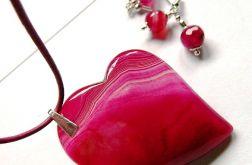 Agaty w kolorze fuksji,asymetryczne serce