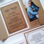 Rustykalne zaproszenie ślubne ze zdjęciem