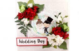 kartka ślubna z czerwonym akcentem #144