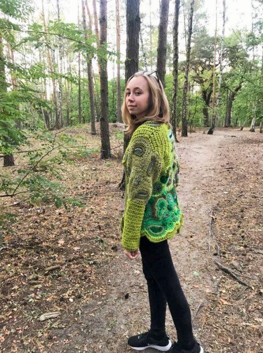 Zielony  cardigan freeform crochet