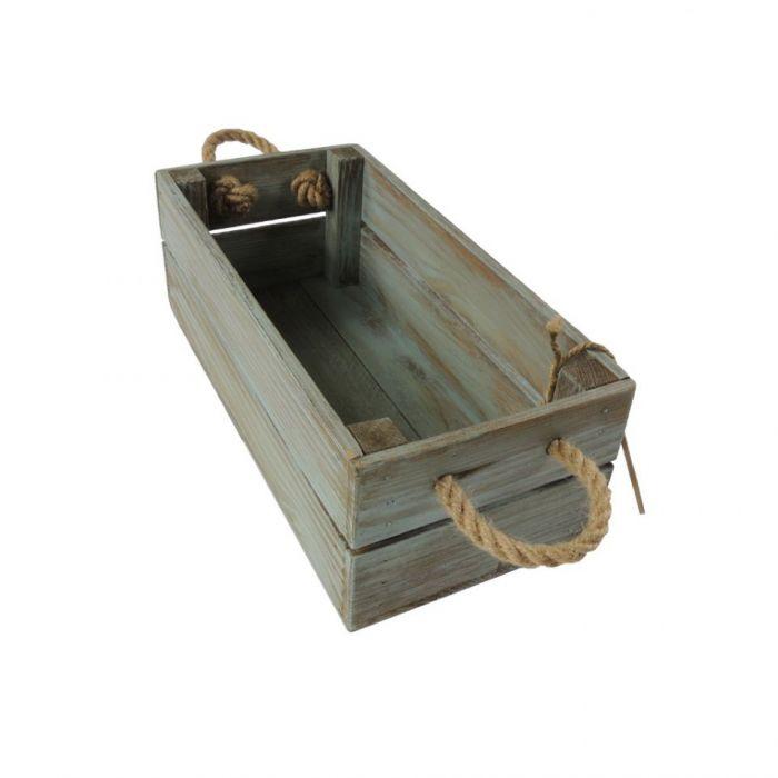 Skrzynka drewniana brąz-turkus 15x31x11,5