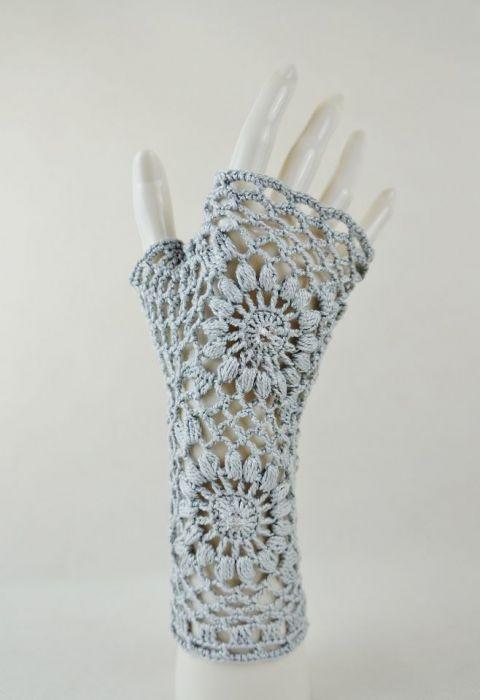 Mitenki popielate - rękawiczki ażurowe