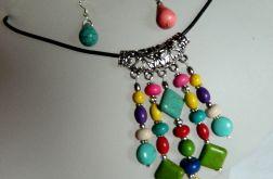Kolorowy,wisior z kamieniami i kolczyki