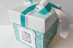 Pudełko, kartka ślubna turkusowa
