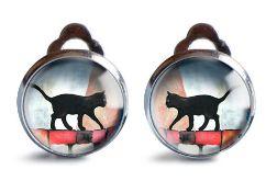 Black Cat klipsy z ilustracją