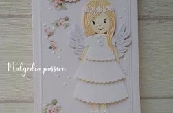 Kartka komunijna z aniołkiem dla dziewczynki
