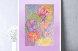 Rysunek z kwiatami na fioletowym tle nr 5