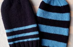Zimowa czapka smerf pasy granat-niebieski