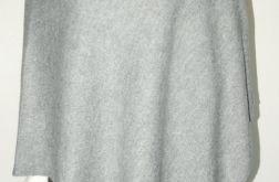Klasyczne gładkie ponczo szary melanż
