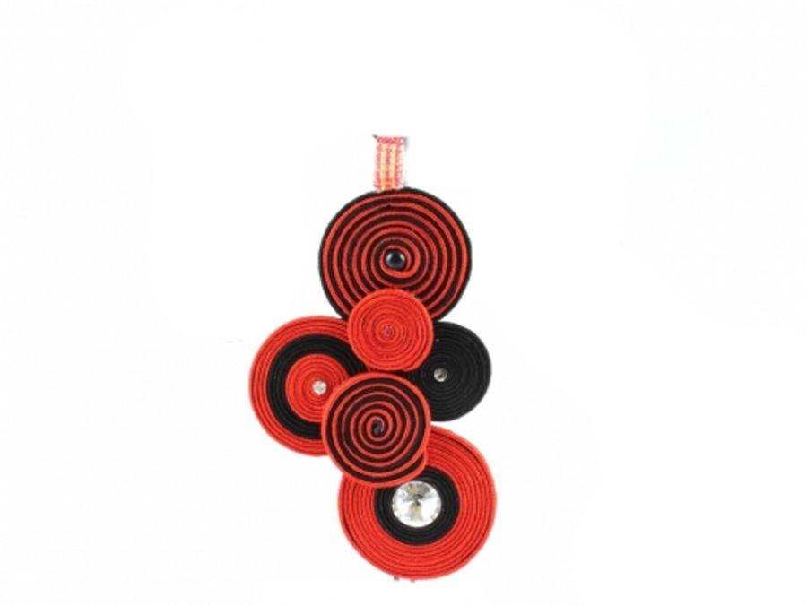 Swarowski, naszyjnik spirala, czerwony