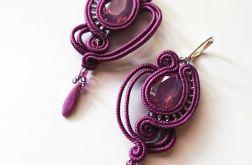 Fioletowe ażurowe kolczyki z kryształkami