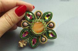 Kwiatkowa broszka z kryształami Swarovskiego