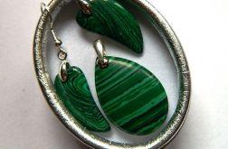 Zielony malachit i srebro, delikatny zestaw