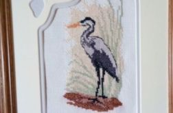 Obraz haftowany - czapla siwa
