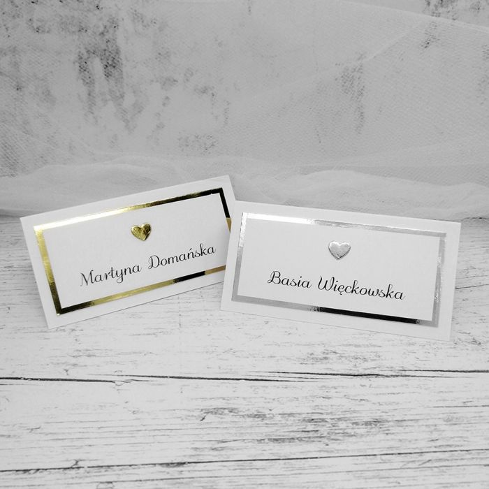 Winietki na stół złote lub srebrne z serduszkiem WNT 028