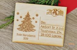 Życzenia świąteczne GRAWER kartka drewniana