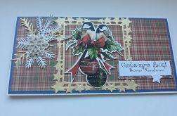 Kartka Boże Narodzenie, z ptaszkami i z kieszonką w środku
