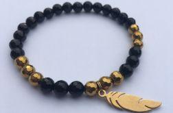Czarna, złota bransoletka z onyksu i hematytu