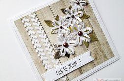 Kartka UNIWERSALNA z białymi kwiatami