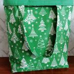 Eko,torba damska na zakupy,zielona w choinki.