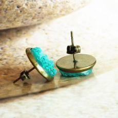 LAGUNA kolczyki wkrętki z żywicą druzy