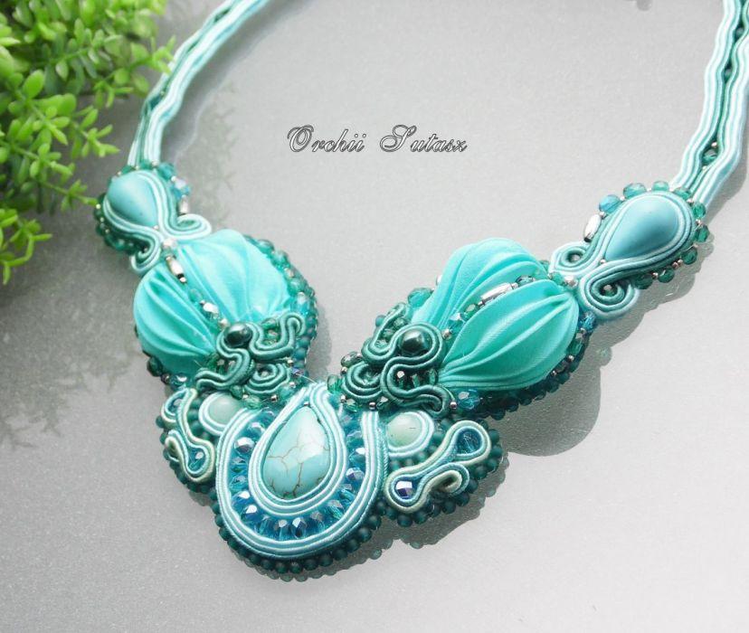5f00658b39 Naszyjnik SHIBORI silk ribbon  38 - orchi-sutasz
