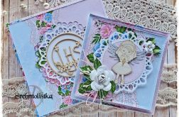 Kartka komunijna+pudełko z aniołkiem
