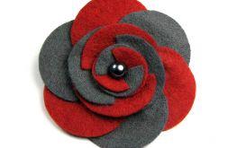 Broszka kwiatek grafit + czerwień