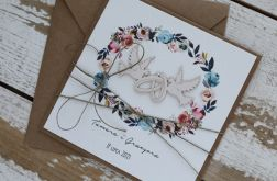 Kartka ślubna z kopertą - życzenia i personalizacja 1s