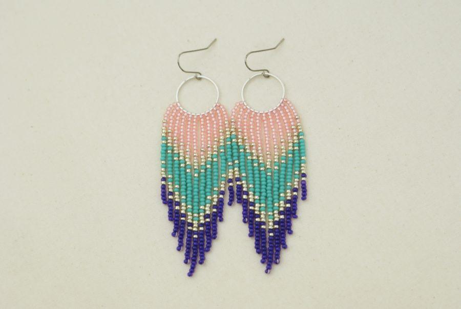 Różowo-turkusowo-fioletowe kolczyki boho - 2