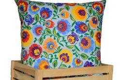 Ozdobna bawełniana poduszka ~ folk / szary
