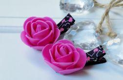 spinki handmade 2 szt. kwiatki róż + czarny