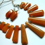 Awenturyn pomarańczowy, kolia i kolczyki -