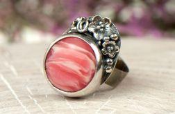 Rodonit w kwiatach pierścionek srebrny a656