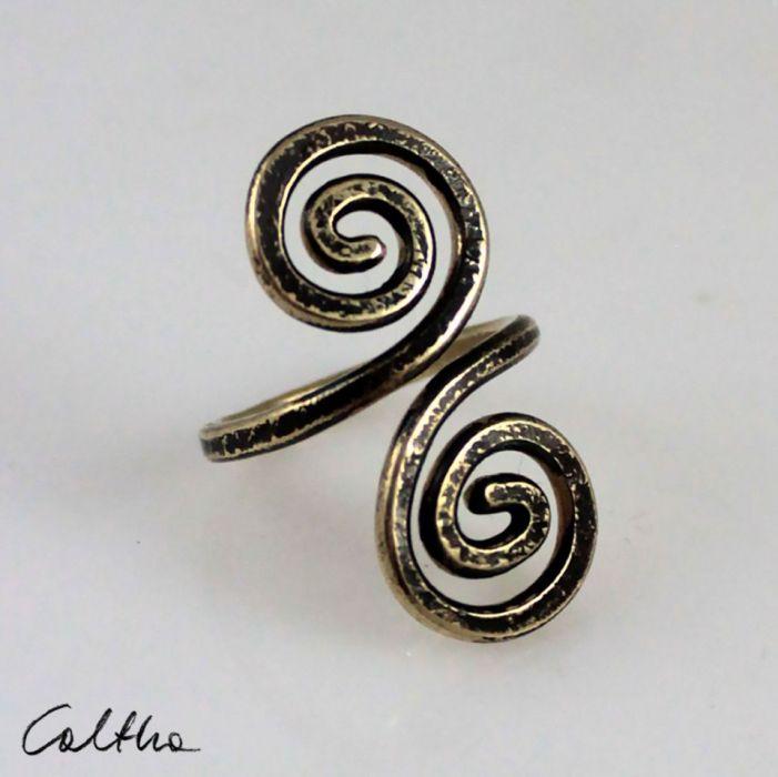 Zawijas - mosiężny pierścionek 210305-01 - Pierścionek w kolorze złota