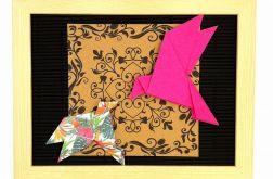Obrazek origami w ramce do powieszenia Ptaki